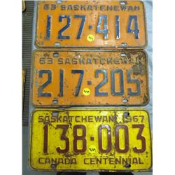 LOT OF 3 SASK LICENSE PLATES (2 - 1963 & 1 - 1967)