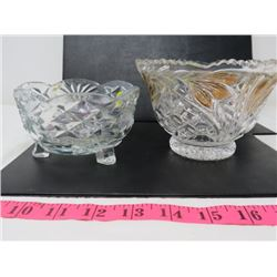 LOT OF 2 CANDY DISHES (1 FOOTED, 1 GOLD TRIMMED)