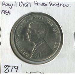 ROYAL VISIT COMMEMORATIVE COIN (ASCENSION ISLAND 50 PENCE, PRINCE ANDREW) *1984*