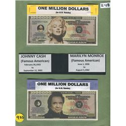 LOT OF 2 NOVELTY MILLION DOLLAR BILLS (JOHNNY CASH, MARYLIN MONROE)