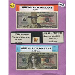 LOT OF 2 NOVELTY ONE MILLION DOLLAR BILLS ( JOHN WAYNE, FARRAH FAWCETT)