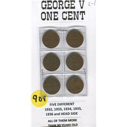 LOT OF 6 PENNIES (GEORGE V) *1932-33-34-35-36 AND HEAD SIDE*