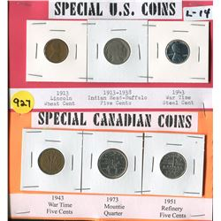 LOT OF 6 COINS (US 1913 PENNY, 1913-38 NICKLE, 1943 STEEL CENT-CANADA 1943 NICKLE, 1973 QUARTER, 195