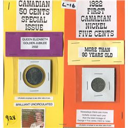 LOT OF 2 COINS (CANADA FIFTY CENT 2002--CANADA NICKLE 1922) *BONUS GOLDEN JUBILEE STAMP*