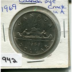1969 CNDN $1 PC *DYE CRACK IN A*