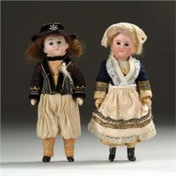"PAIR OF 7 1/2"" 1920's FRENCH DOLLS"