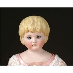 "21"" GLASS EYED BISQUE DOLL W/MOLDED HAIR"