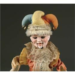 "13 1/2"" BISQUE HEAD JESTER MECHANICAL TOY"