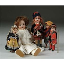 LOT OF FIVE SMALL BISQUE HEAD DOLLS