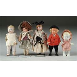 LOT OF SEVEN BISQUE AND COMPOSITION DOLLS