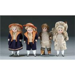 LOT OF FOUR SMALL ALL-BISQUE DOLLS
