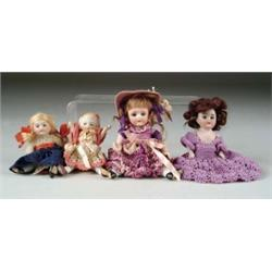 LOT OF FOUR ALL BISQUE DOLLS