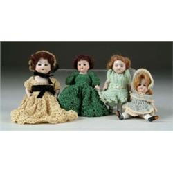 LOT OF FOUR GERMAN ALL-BISQUE DOLLS
