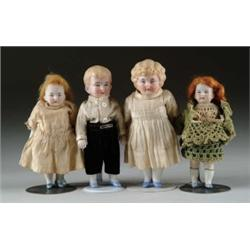 LOT OF FOUR JOINTED ALL-BISQUE DOLLS