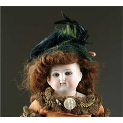 "17"" GERMAN BISQUE CLOSE MOUTH TURNED SHOULDER HEAD DOLL"