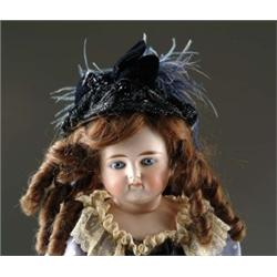 "25"" CLOSE MOUTH GLASS EYED SOLID DOME TURNED SHOULDER HEAD DOLL"