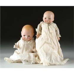 LOT OF TWO GERMAN BISQUE CHARACTER BABY DOLLS