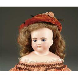 "23"" SOLID DOME CLOSE MOUTH GLASS EYE TURNED SHOULDER HEAD DOLL"