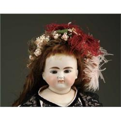 "25"" SOLID DOME CLOSE MOUTH GLASS EYE TURNED SHOULDER HEAD DOLL"
