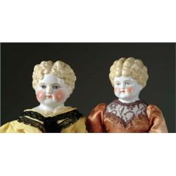 LOT OF TWO BLONDE CHINA HEAD DOLLS