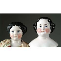 "LOT OF 31"" CHINA HEAD DOLL & 8 1/2"" CHINA HEAD"