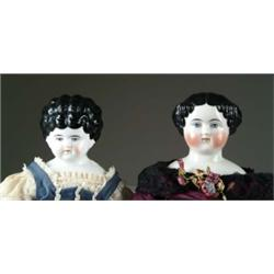 "LOT OF TWO 22"" AND 21"" CHINA HEAD DOLLS"
