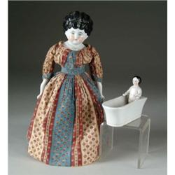 "15"" LOWBROW CHINA & 3 1/2"" FROZEN CHARLOTTE IN TUB"