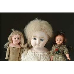 LOT OF THREE ASSORTED COMPOSITION AND WAX DOLLS