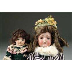 LOT OF TWO: GERMAN BISQUE AND REPRODUCTION BRU DOLLS