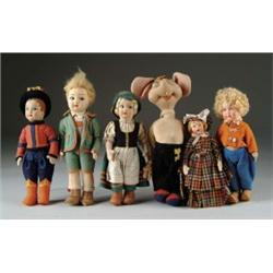 LOT OF SIX CLOTH DOLLS