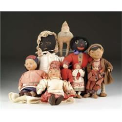 LOT OF SIX CLOTH RUSSIAN AND TWO BLACK CLOTH DOLLS