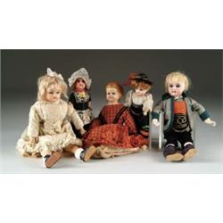 LOT OF 5 ANTIQUE DOLLS