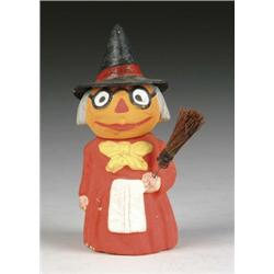 PUMPKIN-HEAD WITCH FIGURAL CANDY CONTAINER