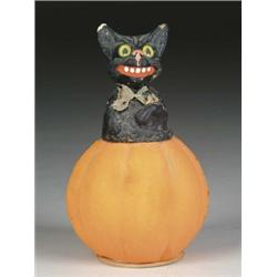 PUMPKIN WITH BLACK CAT CONTAINER