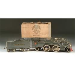 LIONEL STANDARD GAUGE STEAM TYPE LOCO #385E AND IVES-STYLE TENDER WITH ORIGINAL BOXES