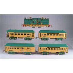 LOT OF FIVE INCLUDES AMERICAN FLYER STANDARD GAUGE LOCOMOTIVE #4637 WITH FOUR CARS