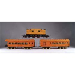 IVES STANDARD GAUGE ELECTRIC LOCOMOTIVE #3243 WITH TWO CARS