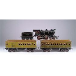 LOT OF FOUR BING TOYS INCLUDES LOCOMOTIVE WITH TENDER AND TWO PASSENGER CARS