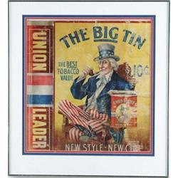 "RARE CARDBOARD LITHO ADVERTISING BOX FOR UNION LEADER FOR ""THE BIG TIN TOBACCO"""