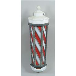 KOKEN LEADED GLASS AND PORCELAIN BARBER POLE