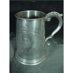 "SHEFFIELD NUMBER 7 PEWTER STEIN MARKED ""THE COAT OF ARMS OF HER MAJESTY THE QUEEN. 5.5""X4""."