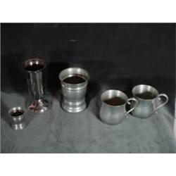 "COLLECTION OF PEWTER CUPS INCLUDING TWO MATCHING EALES, SHEFFIELD ENGLAND MUGS 3.5""X2.5"", AND MATCHI"