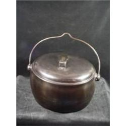 "T HOLCROFT AND SONS 2 GALLON WOLVERHAMPTON COVERED NICKEL BEAN POT WITH LID AND HANDLE 7""X13""."