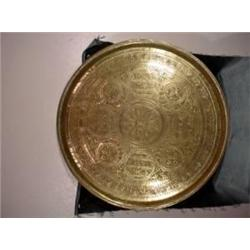 LARGE ROUND EMBOSSED BRASS TRAY WITH AN INDONESIAN STYLE DESIGN IN MOSTLY CIRCLE BORDER PATTERNS. 28
