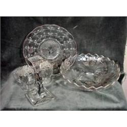 COLLECTION OF MATCHING GLASSWARE IN A CLEAR BASE WITH HANDPAINTED SILVER DECORATION IN A FLORAL MOTI