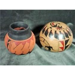 TWO NATIVE AMERICAN ART OBJECTS INCLUDING A SIGNED NATIVE AMERICAN CERAMIC POT HANDPAINTED IN RUSTS