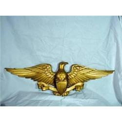 "EAGLE FIGURAL IN GOLD COLORED METAL MARKED SEXTON USA. 9""X26"","