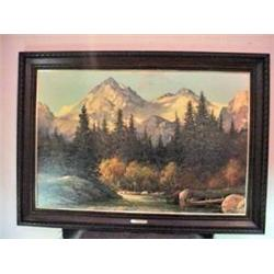 "FRAMED PRINT BY ARTIST R. WOOD ""IN THE TETONS"" 30"