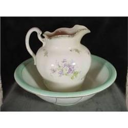 PORCELAIN WASH BOWL AND PITCHER HANDPAINTED IN A