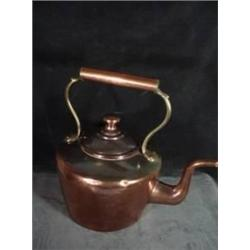 "OLD HEAVY ENGLISH COPPER TEA KETTLE 5.5""X 8""."